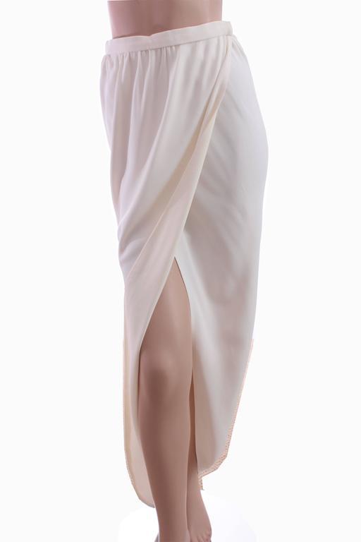 70s Halston Silk Wrap Skirt Creme White Crepe Tulip Documented Montaldo's Sz 12 6