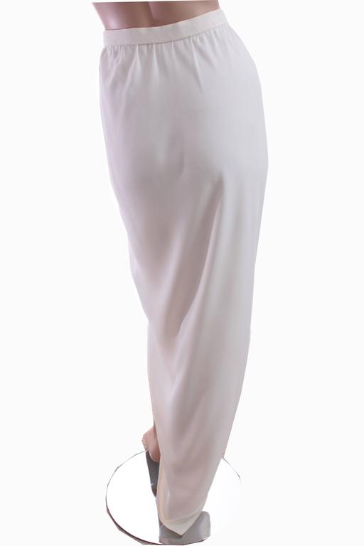 70s Halston Silk Wrap Skirt Creme White Crepe Tulip Documented Montaldo's Sz 12 4