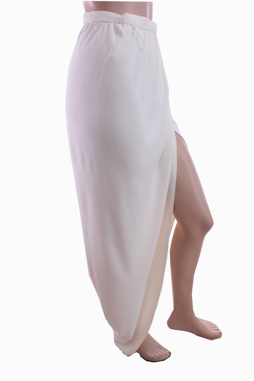 70s Halston Silk Wrap Skirt Creme White Crepe Tulip Documented Montaldo's Sz 12 5