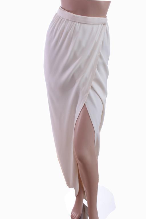 70s Halston Silk Wrap Skirt Creme White Crepe Tulip Documented Montaldo's Sz 12 7