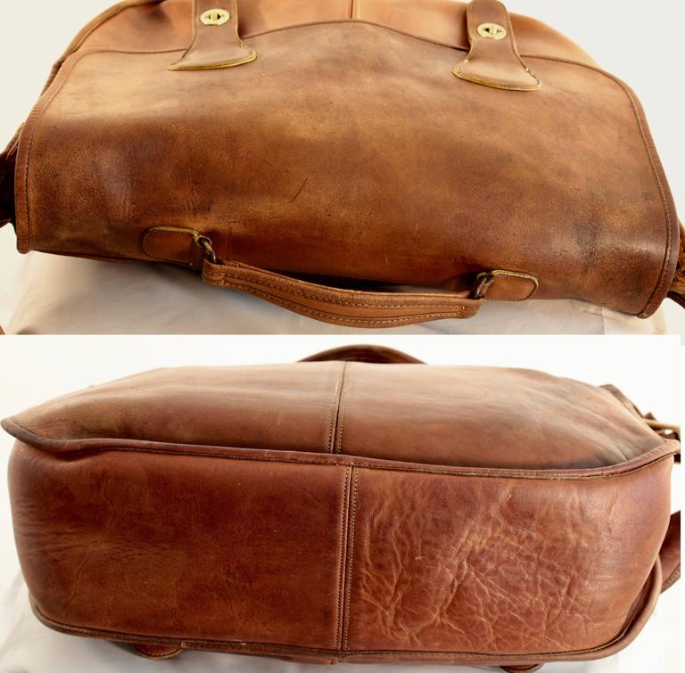 Women's or Men's Rare Coach Leatherware Swag Bag Distressed Leather Satchel Briefcase 70s NYC  For Sale