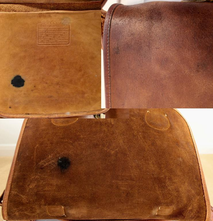 Rare Coach Leatherware Swag Bag Distressed Leather Satchel Briefcase 70s NYC  10