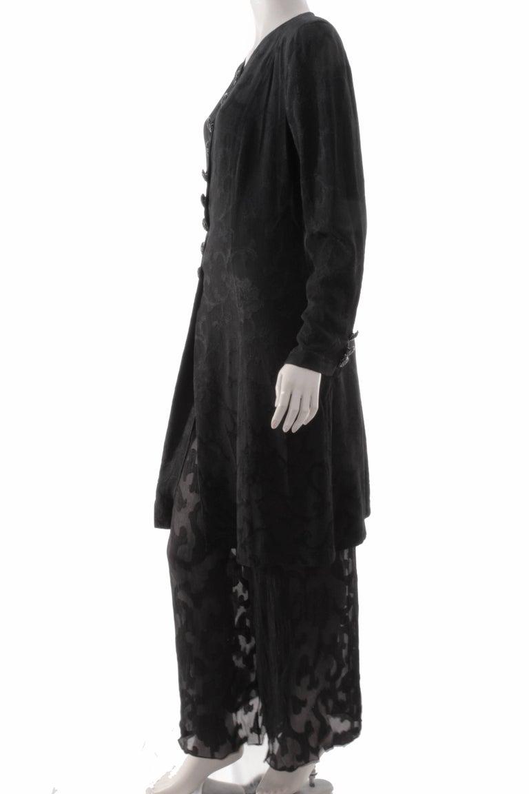 Rare Donna Karan Long Jacket & Sheer Pants Set 2pc Black Silk Brocade Leone 10/M In Excellent Condition For Sale In Port Saint Lucie, FL