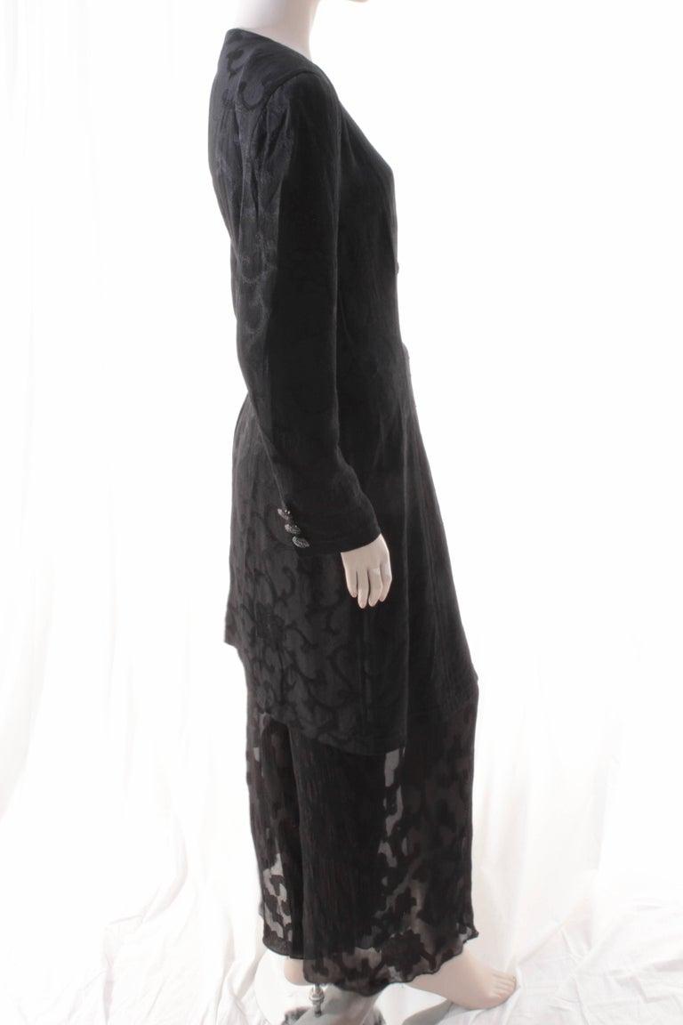 Rare Donna Karan Long Jacket & Sheer Pants Set 2pc Black Silk Brocade Leone 10/M For Sale 1