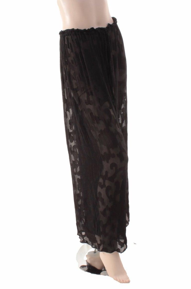 Rare Donna Karan Long Jacket & Sheer Pants Set 2pc Black Silk Brocade Leone 10/M For Sale 4