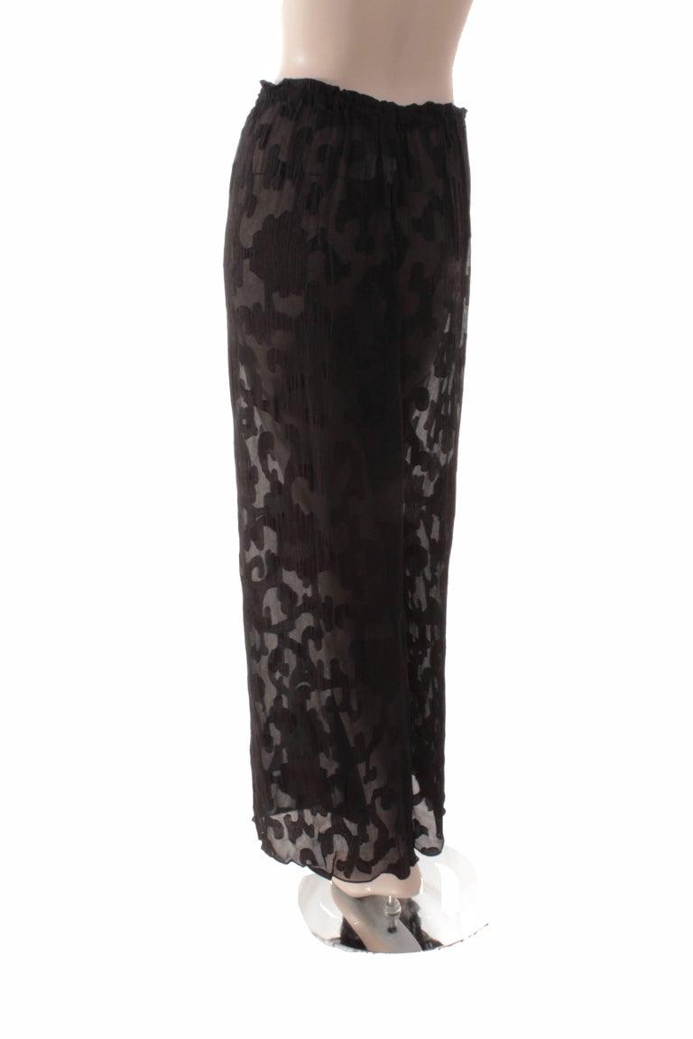 Rare Donna Karan Long Jacket & Sheer Pants Set 2pc Black Silk Brocade Leone 10/M For Sale 5