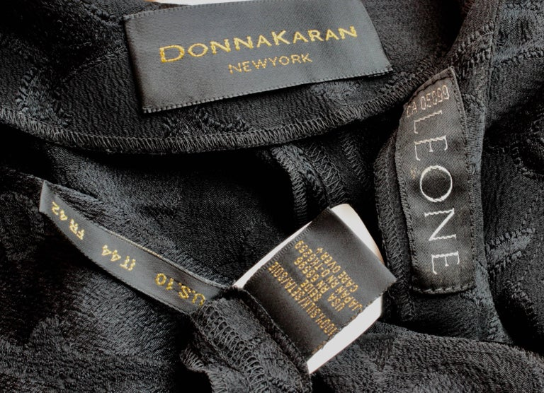 Rare Donna Karan Long Jacket & Sheer Pants Set 2pc Black Silk Brocade Leone 10/M For Sale 6