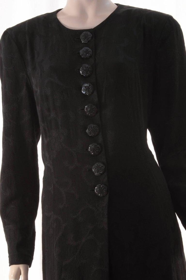 Rare Donna Karan Long Jacket & Sheer Pants Set 2pc Black Silk Brocade Leone 10/M For Sale 2