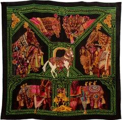 Rare Hermes 140cm Cashmere Silk Shawl La Danse du Cheval Marwari Shawl New + Box