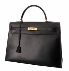 Iconic Hermes Kelly Bag 35cm Black Box Leather Gold Hardware Vintage 70s
