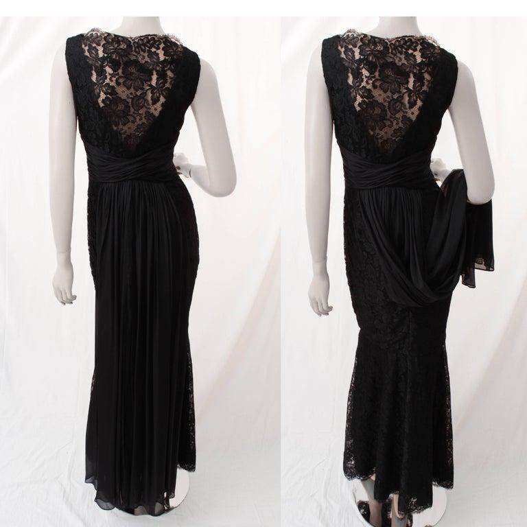 Pamella Roland Evening Gown Black Lace Silk Panels Mermaid Hem Sz 6 For Sale 1