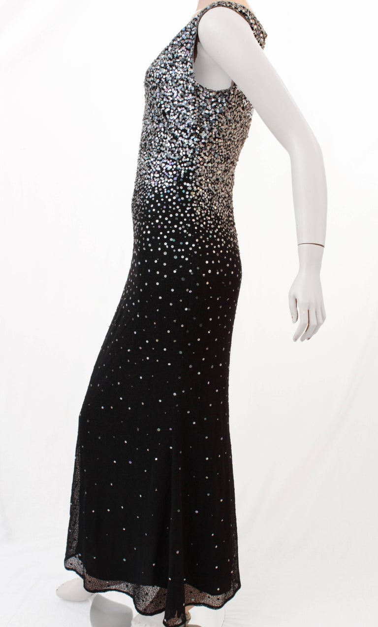 Naeem Khan Black Silk Evening Gown with Sequins Full Length Formal Dress US 6 For Sale 1