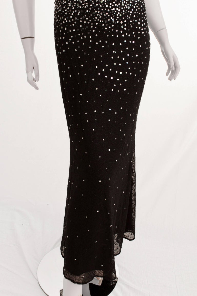Naeem Khan Black Silk Evening Gown with Sequins Full Length Formal Dress US 6 For Sale 3