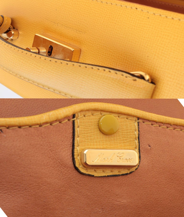 Mark Cross Grace Small Yellow Saffiano Leather Box Structured Handbag  10