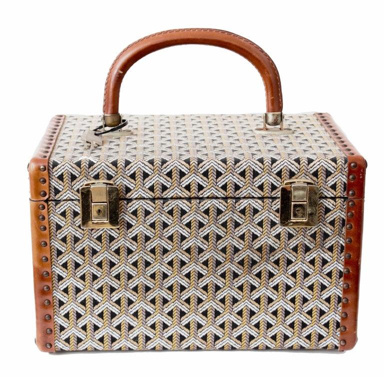 Goyard Paris Vanity Train Case Mini Trunk Beauty Bag Carry On Vintage 1960s  4