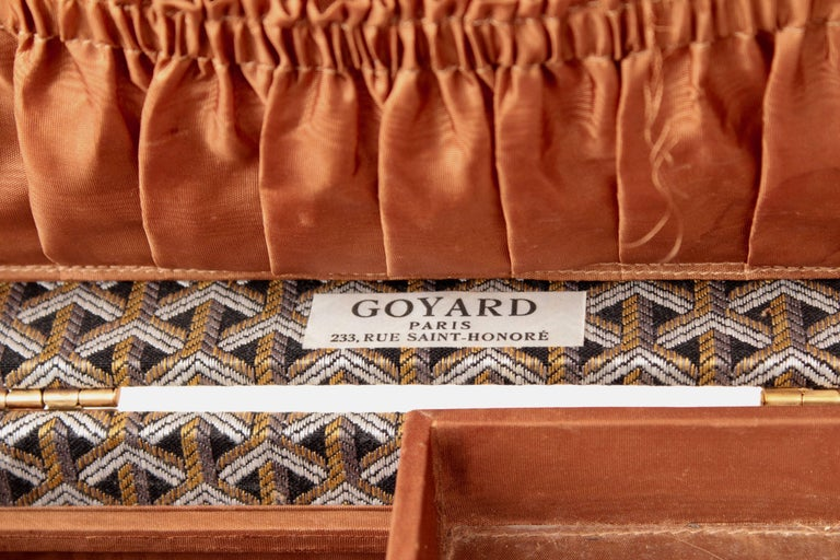 Goyard Paris Vintage Vanity Train Case Mini Trunk Beauty Bag Carry On, 1960s  For Sale 5