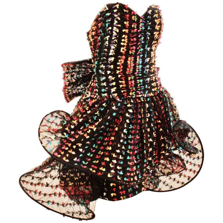 Unique Confetti Bow Cocktail Dress by Tomasz Starzewski Bergdorf Goodman 6 90s For Sale