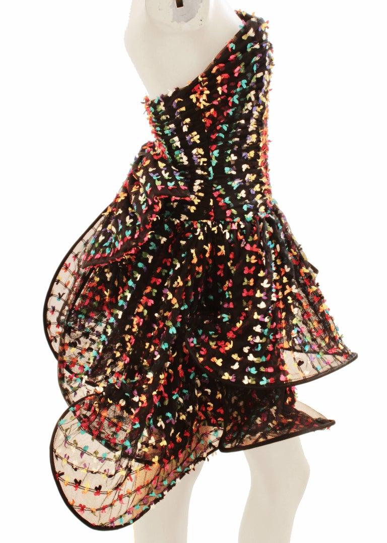 Black Unique Confetti Bow Cocktail Dress by Tomasz Starzewski Bergdorf Goodman 6 90s For Sale