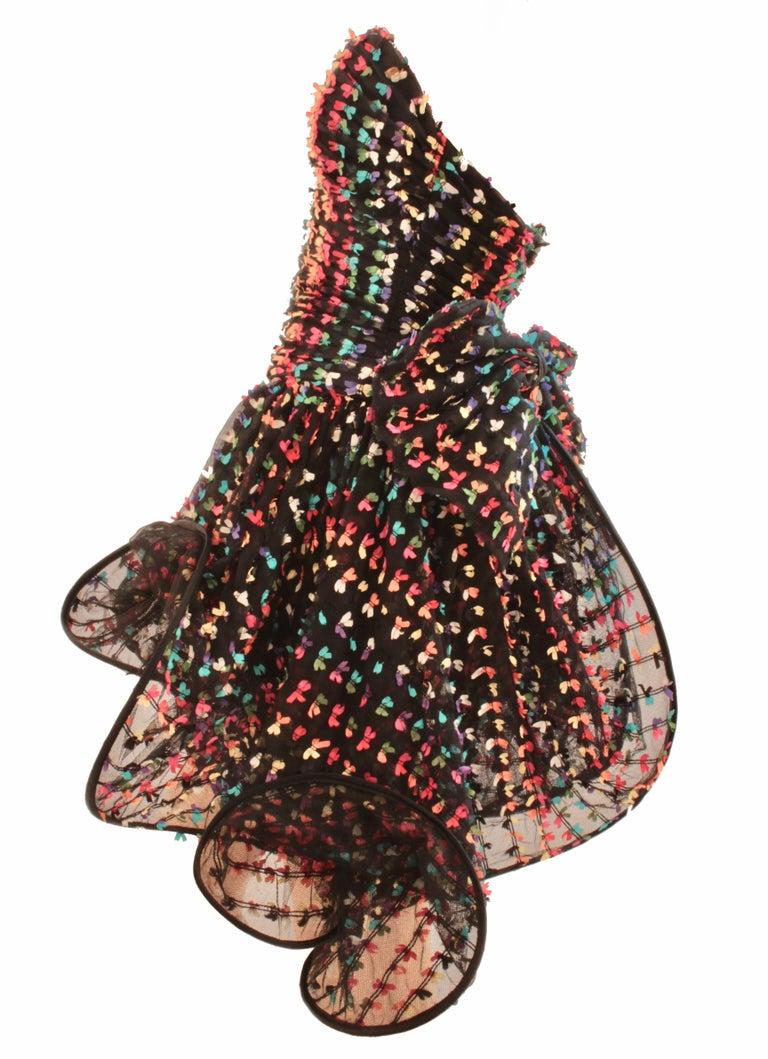 Women's Unique Confetti Bow Cocktail Dress by Tomasz Starzewski Bergdorf Goodman 6 90s For Sale
