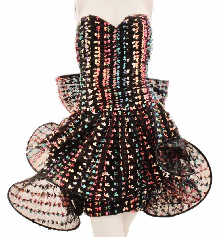 Unique Confetti Bow Cocktail Dress by Tomasz Starzewski Bergdorf Goodman 6 90s For Sale 1