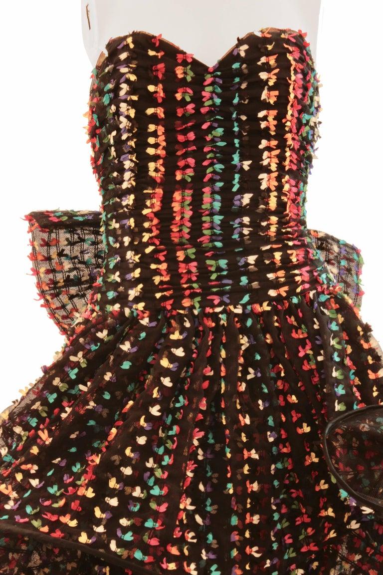 Unique Confetti Bow Cocktail Dress by Tomasz Starzewski Bergdorf Goodman 6 90s For Sale 2