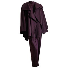 Claude Montana Oversized Draped Swing Coat with Jumpsuit Set 2pc Wool Sz 4/8