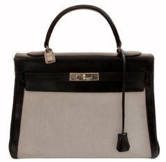 Vintage Hermes Kelly Bag 32cm Sac a Depeches Retourne Black Leather with Canvas