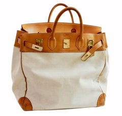 Hermes Haut a Courroies Bag HAC Large Travel Birkin 45cm Vache Leather Canvas