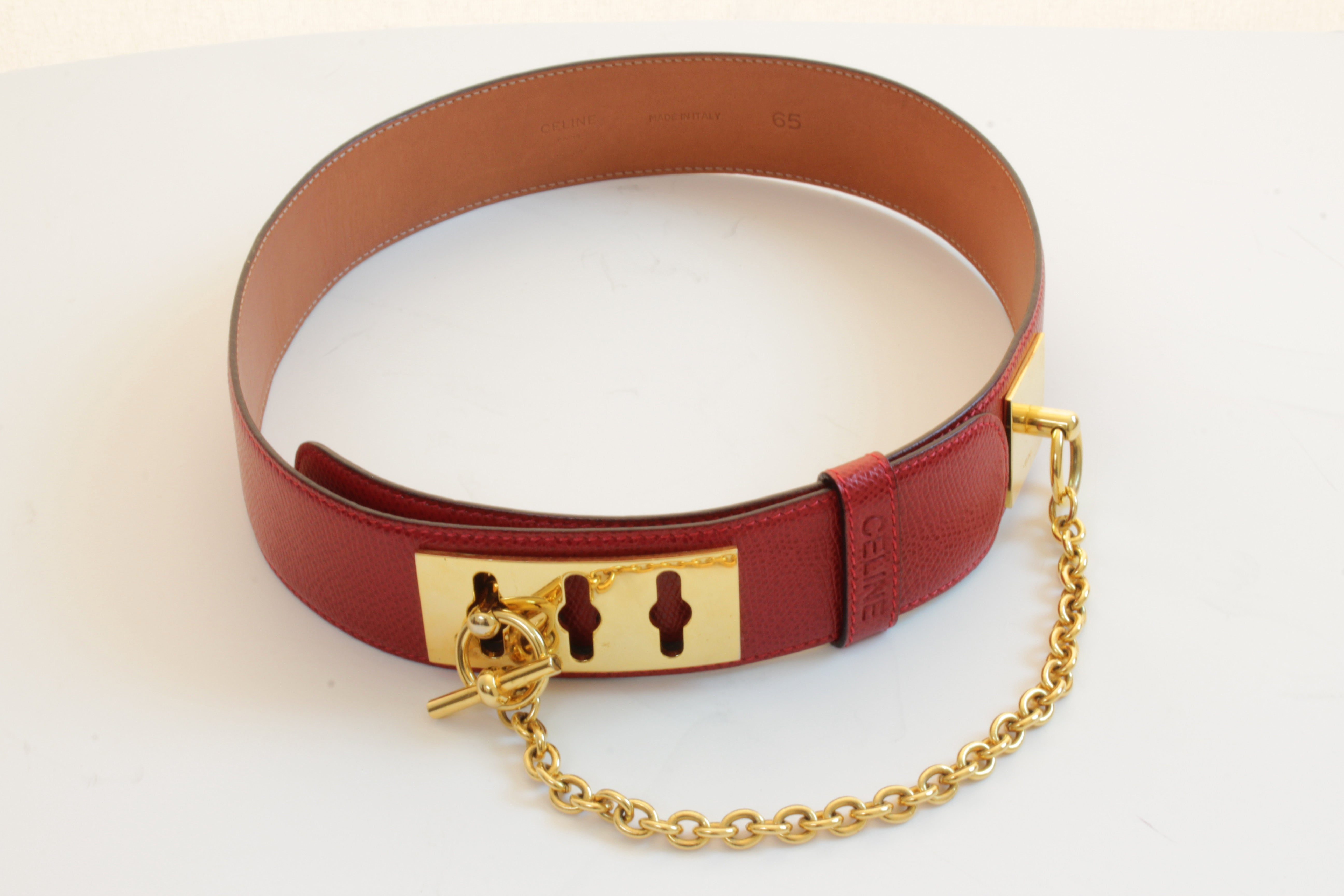 6b97de521aa Celine Paris Red Leather Belt with Gold Chain Detail Size 65cm at 1stdibs