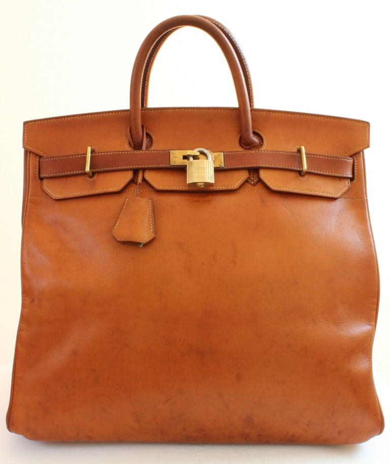 e1cf98110823 Hermes Haut a Courroies Bag HAC 45cm Travel Tote Rare Veau Grain ...