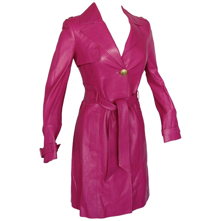 Versace Leather Coat with Belt + Medusa Buttons Trench Style Magenta Sz 40 2011