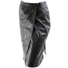 Yves Saint Laurent Black Leather Wrap Skirt YSL Rive Gauche sz 40