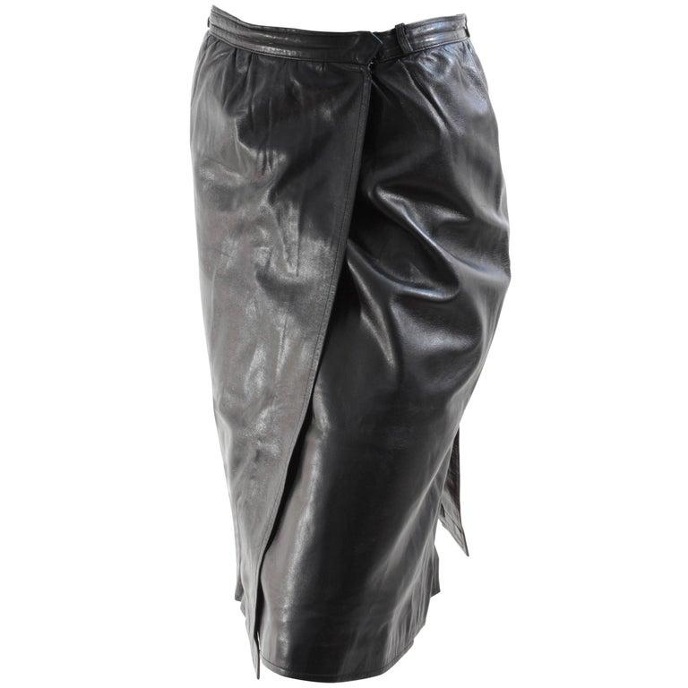 Yves Saint Laurent Black Leather Wrap Skirt YSL Rive Gauche sz 40
