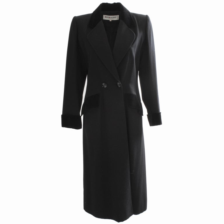 bf167de1a5 70s Yves Saint Laurent Long Black Coat Fitted YSL Rive Gauche Wool  Gabardine 40