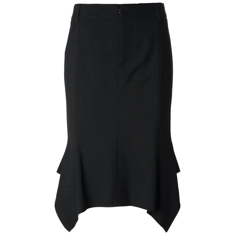 Tom Ford Black Dropped Hem Skirt Asymmetric Wool Sz 38