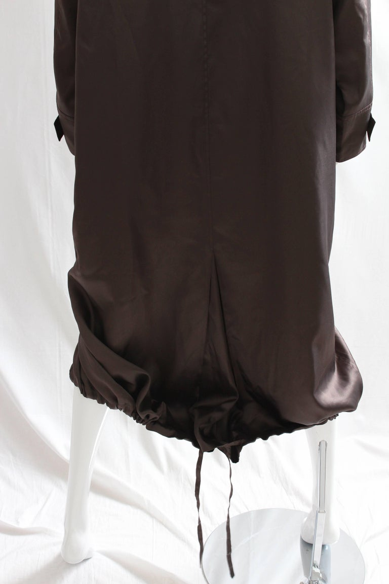 Sonia Rykiel Brown Satin Trench Coat with Hood, 1990s  For Sale 4