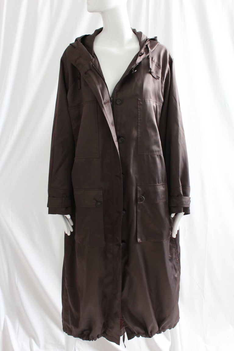 Sonia Rykiel Brown Satin Trench Coat with Hood, 1990s  For Sale 7