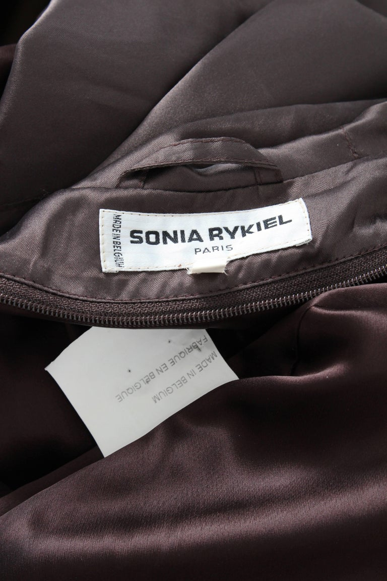 Sonia Rykiel Brown Satin Trench Coat with Hood, 1990s  For Sale 8