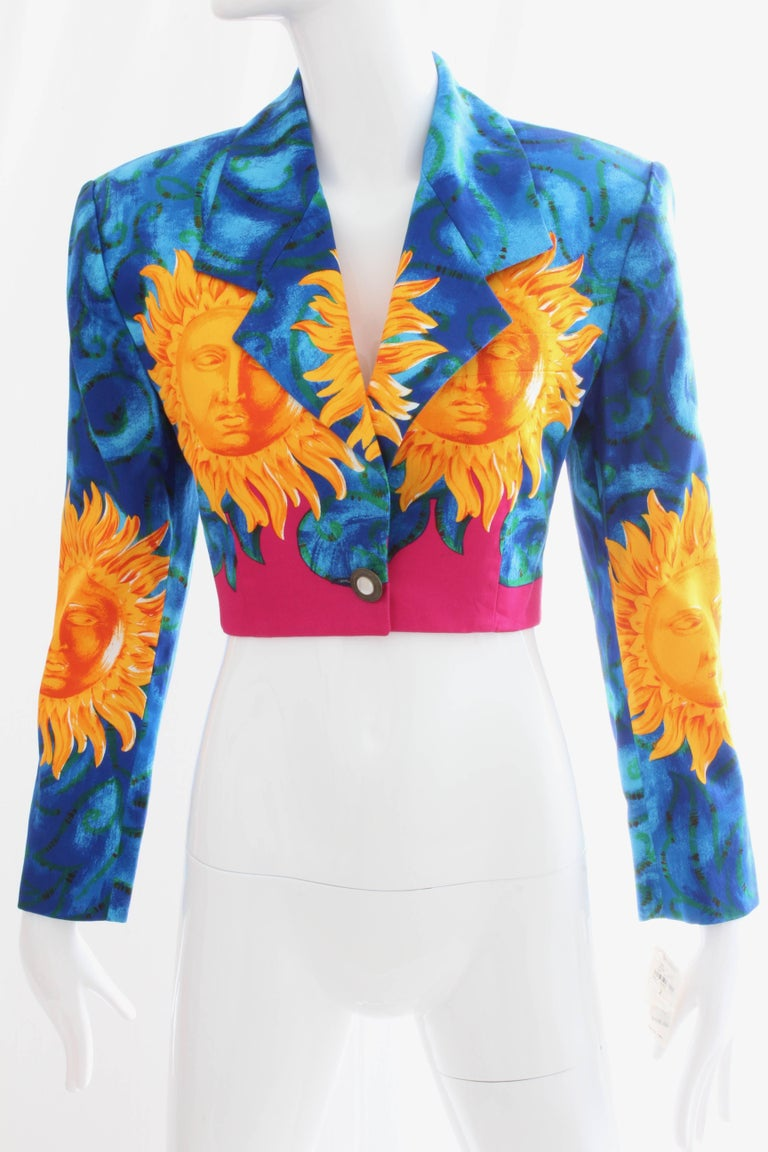 Blue Versace Cropped Sun Print Jacket, Late 1990s For Sale