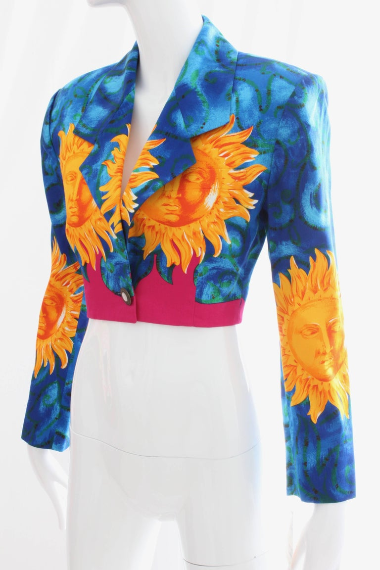 Versace Cropped Sun Print Jacket, Late 1990s In Excellent Condition For Sale In Port Saint Lucie, FL