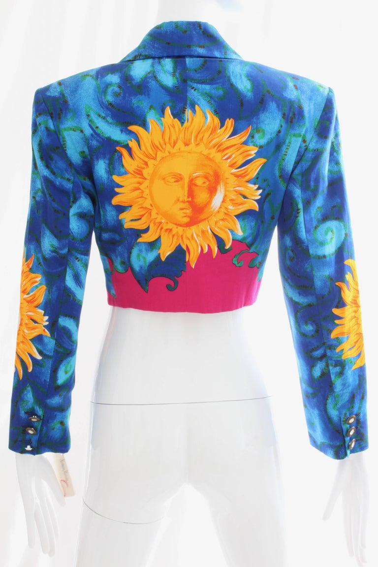 Women's Versace Cropped Sun Print Jacket, Late 1990s For Sale