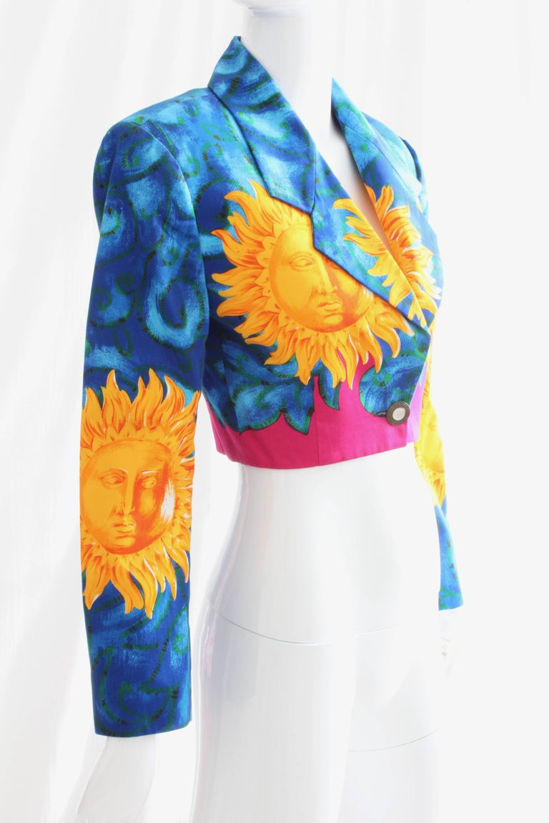 Versace Cropped Sun Print Jacket, Late 1990s For Sale 1