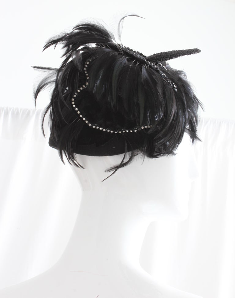 Jack McConnell Boutique Black Wool Clochette Hat with Feathers 1960s Bollman Hat For Sale 4