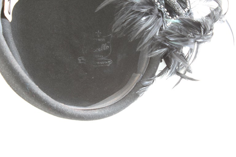 Jack McConnell Boutique Black Wool Clochette Hat with Feathers 1960s Bollman Hat For Sale 6