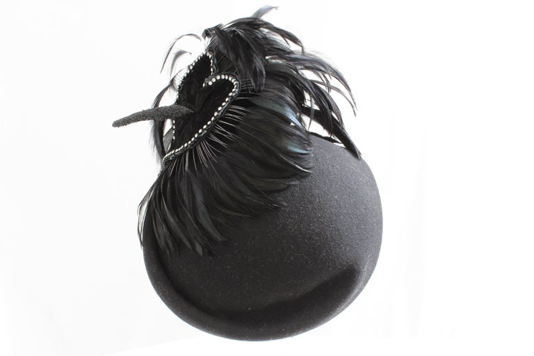 Jack McConnell Boutique Black Wool Clochette Hat with Feathers 1960s Bollman Hat For Sale 1
