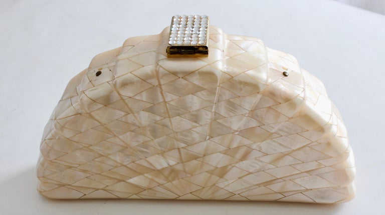 Women's Rare Saks Fifth Avenue Mosaic Clutch Evening Bag with Rhinestone Accents  1960s For Sale