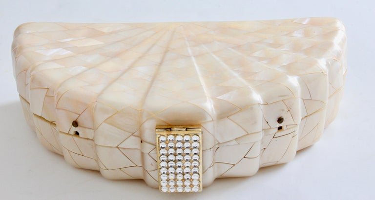 Rare Saks Fifth Avenue Mosaic Clutch Evening Bag with Rhinestone Accents  1960s For Sale 1