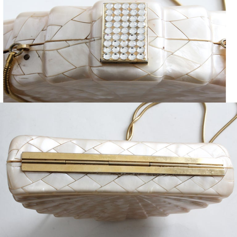 Rare Saks Fifth Avenue Mosaic Clutch Evening Bag with Rhinestone Accents  1960s For Sale 2