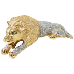 Roaring Lion Brooch Large Vintage Figural Shoulder Pin 4 inch Gold Silver Metal