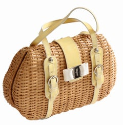 Salvatore Ferragamo Wicker Bag with Yellow Patent Leather Trim